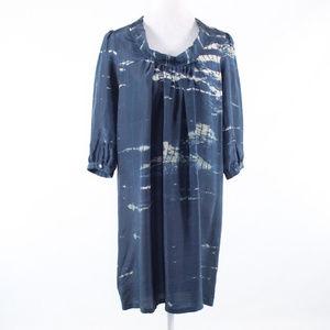 Roberta Freymann blue silk shift dress S